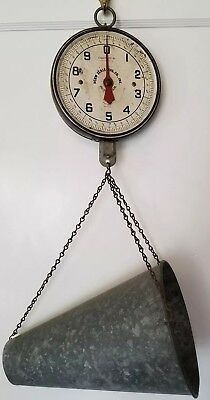 Vintage Antique Metal PENN HANGING SCALE Weigh Poultry Chicken Country Store