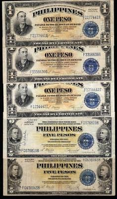 MIXED GROUP of 1944 $1 and $5 PESO PHILIPPINES CURRENCY
