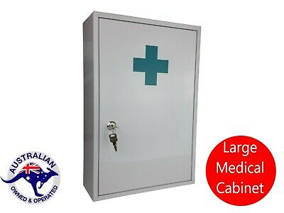 First Aid Medical Cabinet Kit Medicine Box Steel Lock And Key Large Chest