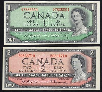 1954 $1 and $2 BANK of CANADA NOTES... EXTREMELY FINE