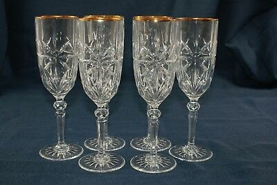 Gold Accent  Crystal Champagne Flutes X 6 Brand New in Box