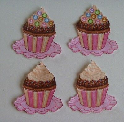 4 Fabric Material Iron On Applique Cupcakes Sweets Icing Pink  Handcut