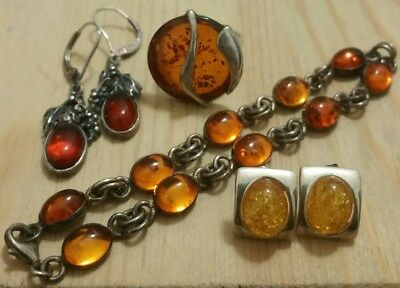 Nice Mixed Lot Amber Sterling Silver Ring (Poland)/earrings/bracelet Vintage