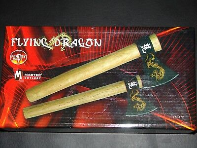 PAIR OF FLYING DRAGON THROWING AXES New