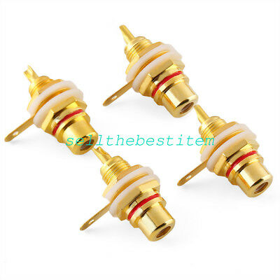 80pcs Gold Plated RCA Female Jack Panel Mount Chassis Socket Red + Black