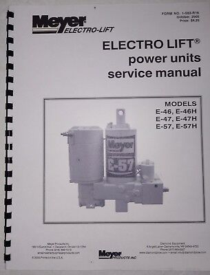 meyer snow plow pump service manual e47 e57 e46 & -h models w/ color