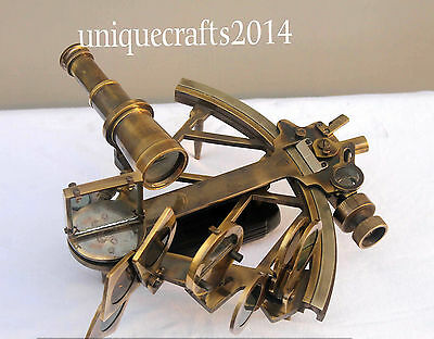 """Vintage Nautical Sextant 9"""" Antique Solid Brass Astrolabe Marine Working."""