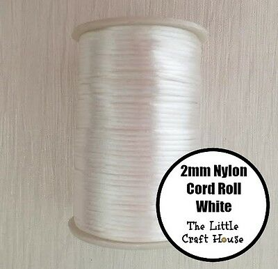 80 Yards (73m) Roll White Nylon Cord 2mm Snow Silicone Bead Necklace Jewellery