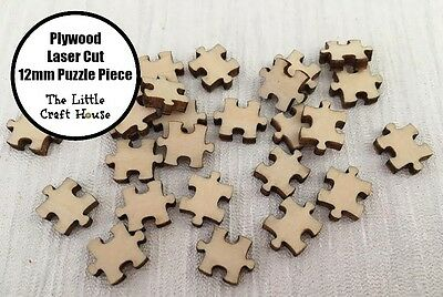 10PC 12mm Wooden Laser Cut Puzzle Piece Shape Ply Blank Craft Wood Flatback DIY