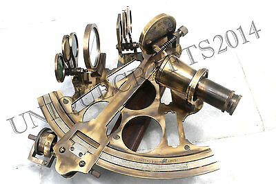 Solid Brass Nautical Collectible Sextant Reproduction Ship Working Instrument .