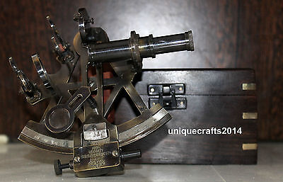Vintage Collectible Nautical Brass Working Maritime Sextant W/box Xmas Gift Item