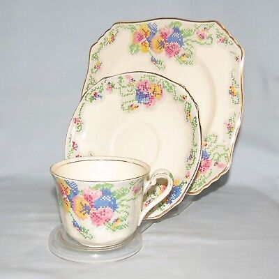 Royal Winton Repton Petit Point Pattern Trio Very Unusual