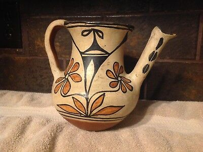 Antique SANTO DOMINGO PUEBLO Polychrome  Native Indian Pottery - Excellent 7 x 6