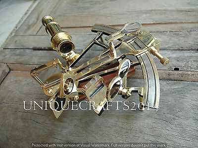 """Antique Solid Brass 8"""" Sextant Marine Working Nautical Collectible Instrument."""