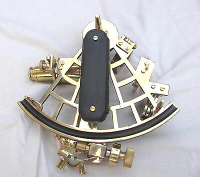 """Nautical Heavy Brass Vintage Sextant 9"""" Ship Working Instrument Royal Navy Item."""