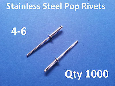 1000 POP RIVETS STAINLESS STEEL BLIND DOME 4-6 3.2mm x 12.5mm 1/8""