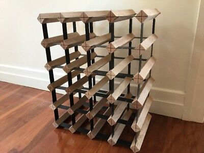 Wine Rack - Sturdy Metal and Wood Rack