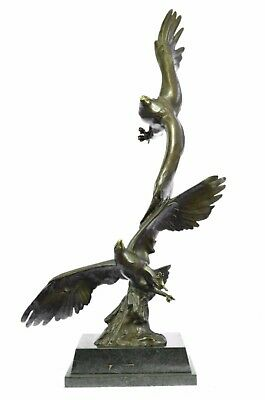 Hand Made European Bronze Limited Edition Two Flying Eagle LEVEL Sculpture BC