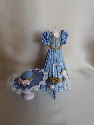 Dolls house/Miniature 1:12/12th scale Dress, Hat & Parasol ~Hand crafted by Eva