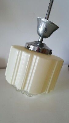 Art deco glass light opaque white with clear tip