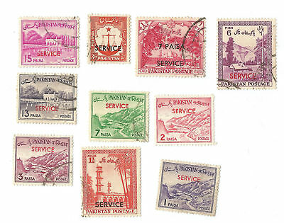 Pakistan SERVICE overprints postage stamps - lot of 10 different