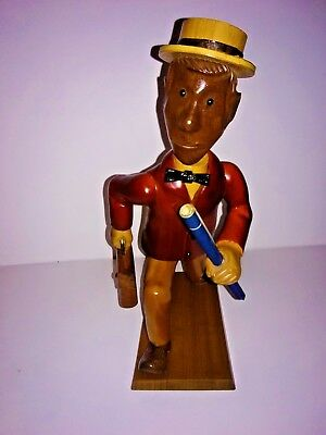 RARE Vintage Romer Hand Carved Wood Folk Art Statue Running Architect with Plans
