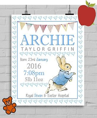 A4 Personalised Peter Rabbit Print/Picture Christening Gift Nursery Baby NB033