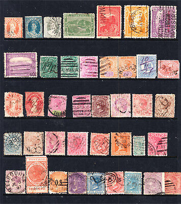Australian States Page Used To 3 Qld Small Chalons See Desc (40 Stamps) (G90)