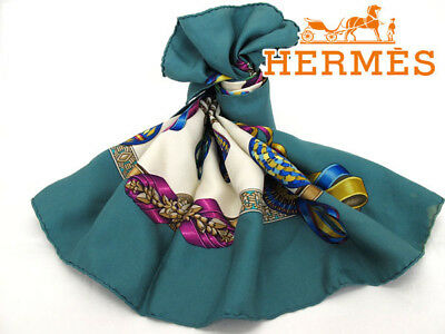 100% Authentic HERMES Scarf. Made in France. 100% silk. Color: green.