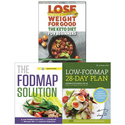 Low-FODMAP Diet charts 3 Books Collection Pack Set Keto Diet for Beginners NEW