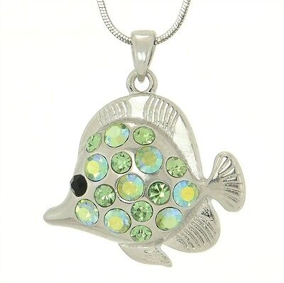 W Swarovski Crystal Green Fish Sea Ocean New Pendant Necklace