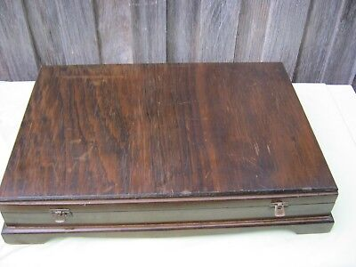 Vintage Polished Wood Fitted Cutlery Box. (Box Only)