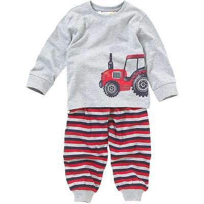 Lullaby Toddler Boys Pyjamas Tractor Print Long Sleeve Striped Grey Blue 6-23