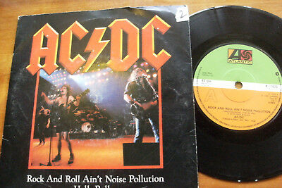 "AC DC 1982 ROCK & ROLL AIN'T NOISE POLLUTION 45rp VINYL 7"" SINGLE RECORD JUKEBOX"