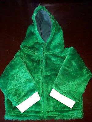 Vintage Childrens Handmade Green Furry Jacket with Hood.