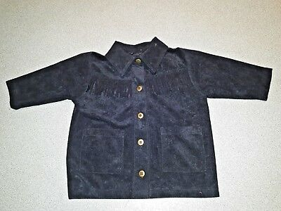 Vintage Childrens Black Suede Look Fringed Shirt.