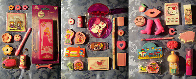 LOTTO LOT GOMMINE ROSA PINK ERASERS BOBBY & KATE SOUNDY PRINCE HELLO KITTY 80s