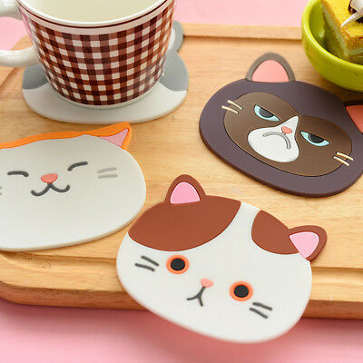Cat Pattern Silicone Insulation Placemat Coaster Cup Bowl Mat Home Decor Noted