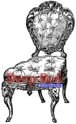 Deep Red Stamps Victorian Velvet Chair Rubber Cling Stamp