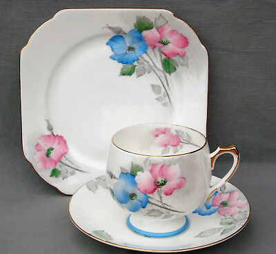 Superb Shelley Blue & Pink Dog Roses Patterned Ely Shape Trio