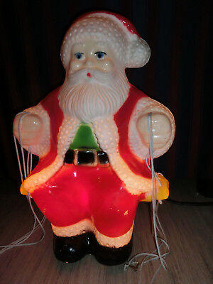 Vintage Royal Usa Hard Plastic Light Up Santa Holding Original Christmas Tree