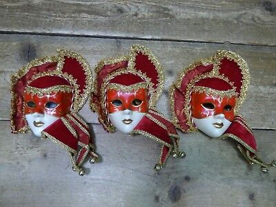 Three Red & Gold Decorative Ornamental Ceramic Painted Harrods Masquerade Masks