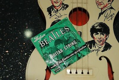 Beatles. Selcol New Sound guitar & Hofner, Beatles guitar string in packet. 1964