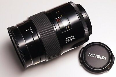Minolta AF 100-200mm F4.5 A-mount Sony DSLR SLT Zoom Lens + Front and Rear Caps