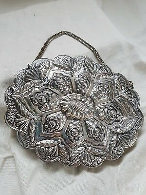 Vintage Turkish Oval Scallop Wedding Sterling Silver 900 Mirror