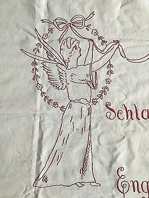 German Mourning Cloth Alter Cloth- hand-embroidery Angel Turkey Red Work Antique