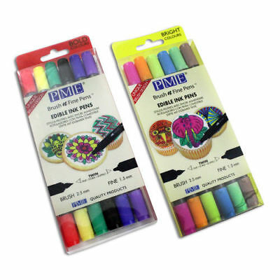 PME edible ink pens double ended Brush & Fine  Bright & Bold Colours 2 packs
