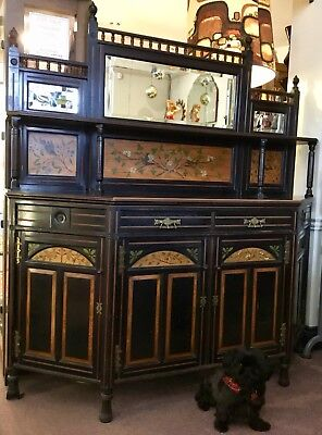 Victorian Aesthetic Movement Mirrored Credenza / Sideboard / Cupboard / Dresser