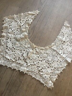 Antique Hand Made Lace Collar Large Square