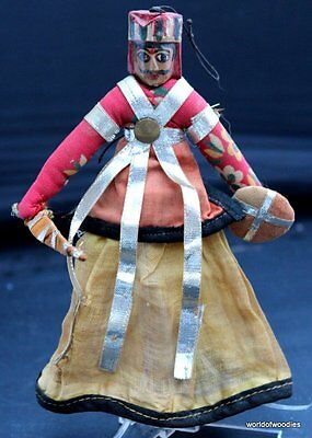 Vintage Indian  Folk Carved Wooden  Hand Puppet /doll
